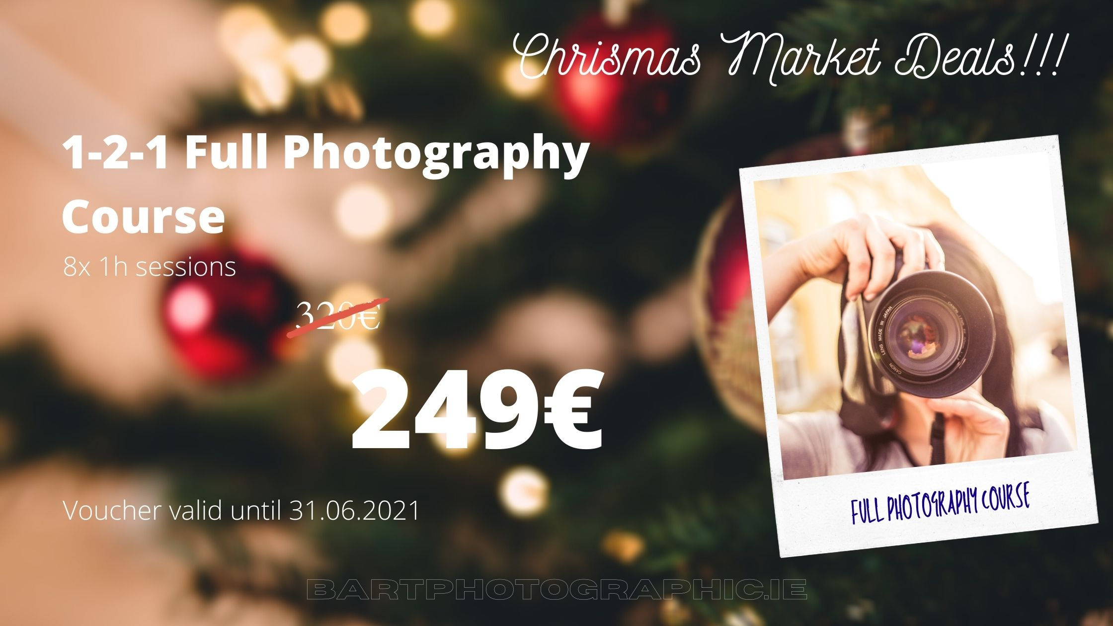 1-2-1 Full Photography Course249€